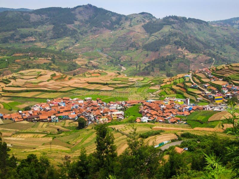 De stap landbouw en huizen in een dorp in een heuvelig gebied, India royalty-vrije stock foto's