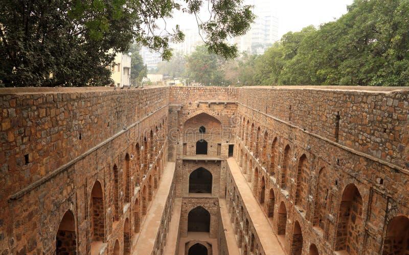 De Stap van Agrasen ki Baoli goed, Oude Bouw, New Delhi, I royalty-vrije stock foto's