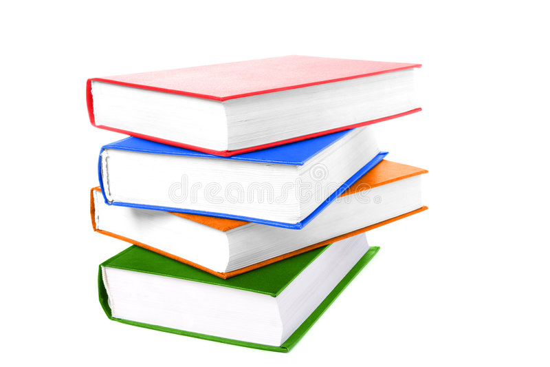 De stapel kleurt boeken op wit stock afbeelding