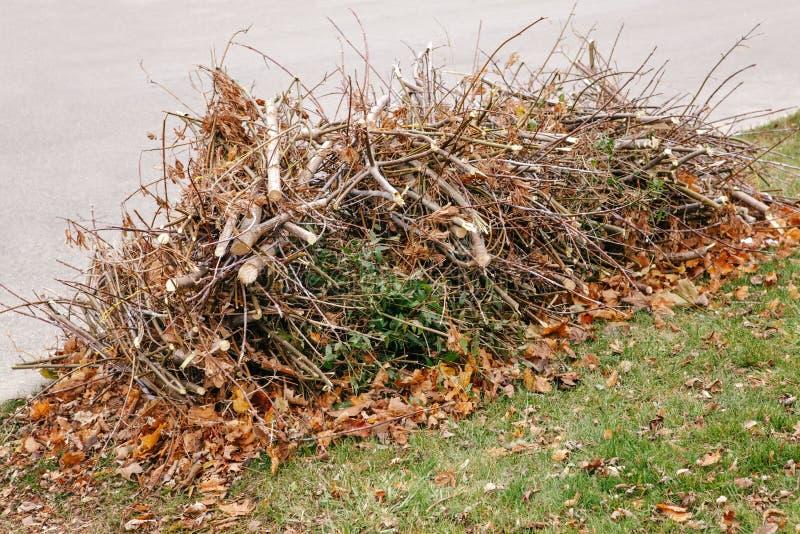 De stapel van besnoeiings oude droge boom vertakt zich met de bladeren van de de herfstdaling op hen, het afval van het afvalhuis royalty-vrije stock foto