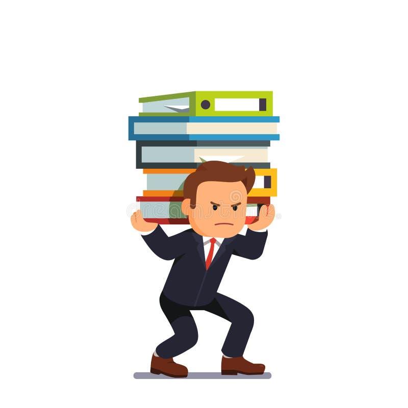 De stapel van de zakenmanholding van zware documenten vector illustratie