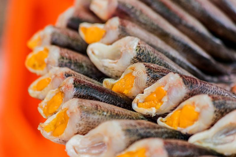 De stapel van Droge Trichogaster-borstspiervissen sluit omhoog royalty-vrije stock afbeeldingen