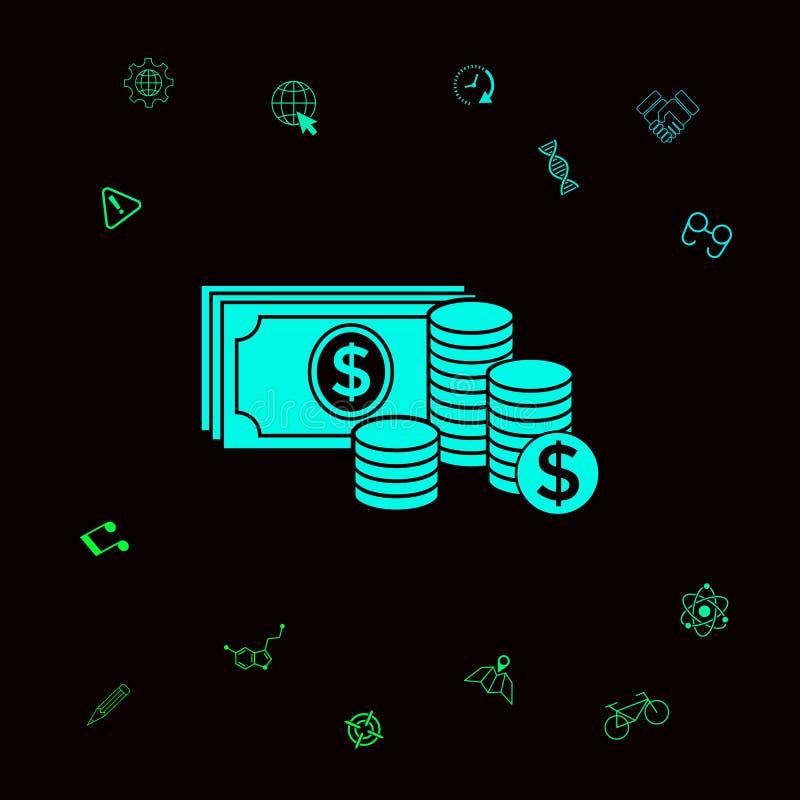 De stapel van geldbankbiljetten en Stapel van muntstukkenpictogram met dollarsymbool Grafische elementen voor uw designt stock illustratie
