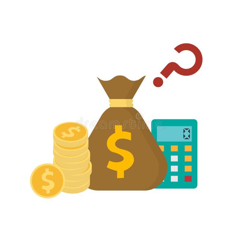 De stapel van gouden muntstuk en het geld doen met calculatorpictogram dat op witte achtergrond wordt geïsoleerd in zakken vector illustratie