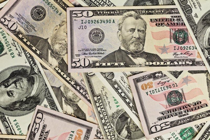 De Stapel van het geld $50 dollarsrekeningen royalty-vrije stock afbeelding