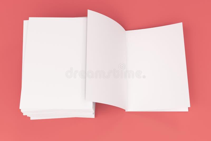 De stapel van leeg wit sloot en één open brochuremodel op rode achtergrond stock illustratie