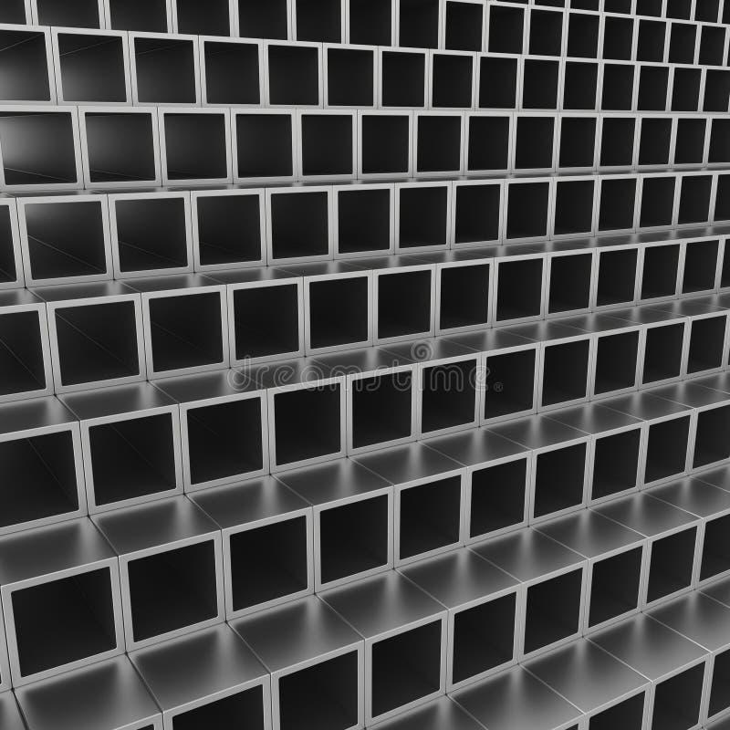 De stapel van staal leidt profielen door buizen stock illustratie