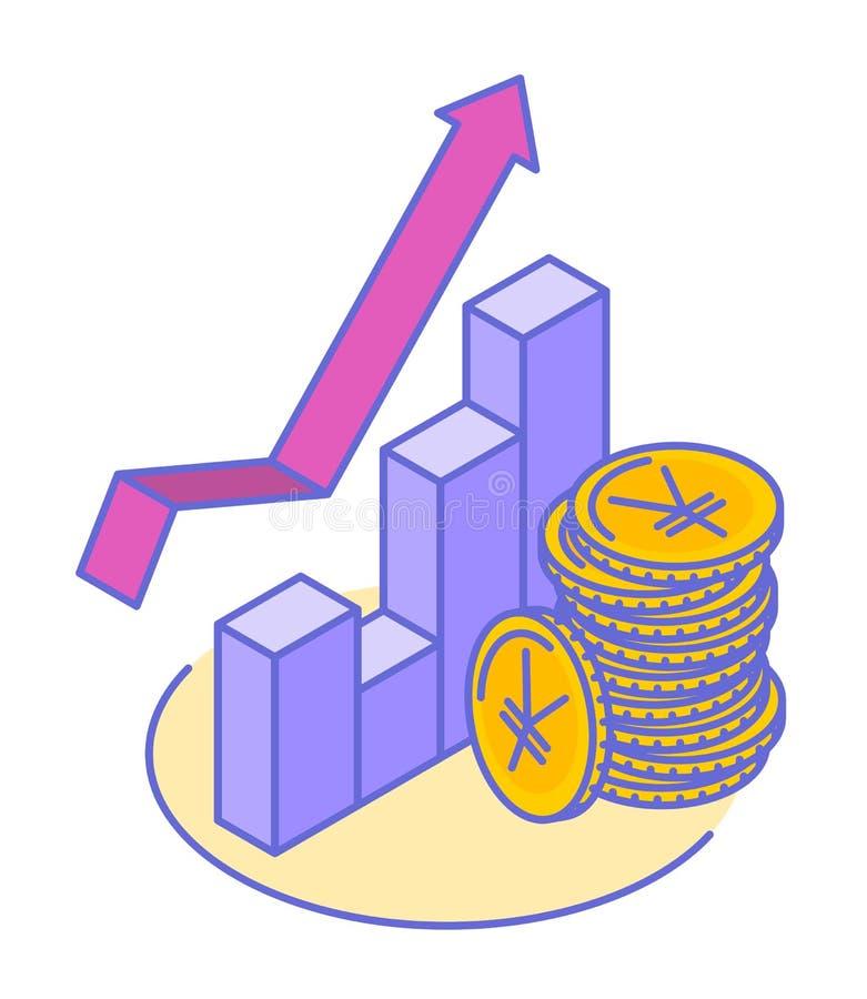 De stapel van Yen en yuansmuntstukken bij de groeigrafiek stock illustratie