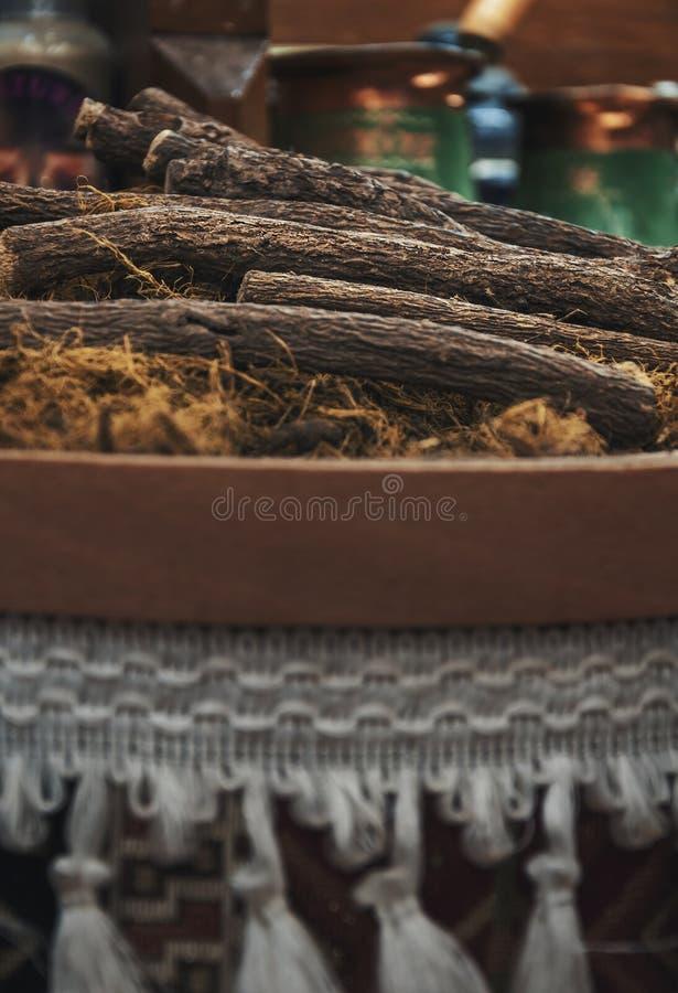De stapel van zoethoutwortels royalty-vrije stock foto's