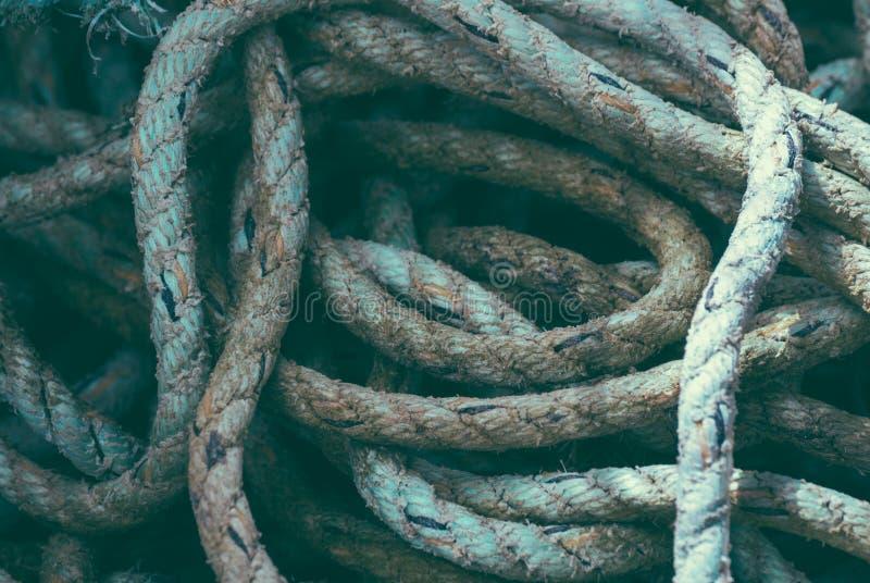 De stapelclose-up van de visserskabel stock afbeelding