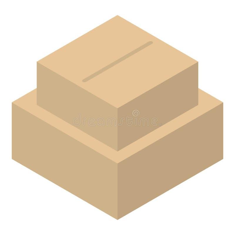 De stapelpictogram van de kartondoos, isometrische stijl stock illustratie