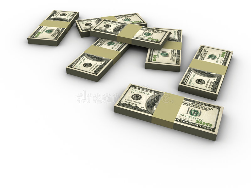De stapels van dollars stock illustratie