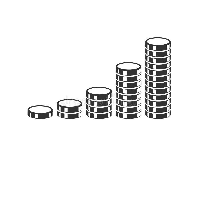De stapels van de zwarte geïsoleerde illustratie van het muntstukkenpictogram ondertekenen symbool voor Web, moderne minimalistic vector illustratie