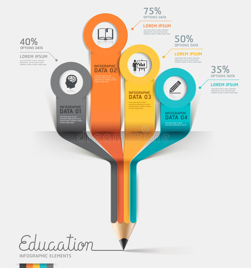 De stapoptie van Infographics van het onderwijspotlood. stock illustratie