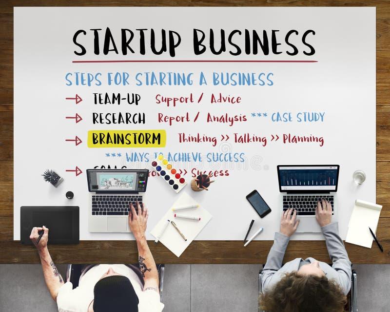 De Stappen Grafisch Concept van het start Businessplan royalty-vrije stock afbeeldingen