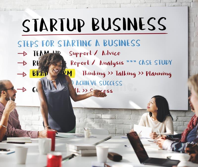 De Stappen Grafisch Concept van het start Businessplan stock fotografie