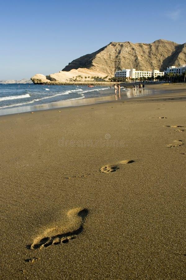 De Stappen van de Voet van het strand stock afbeeldingen