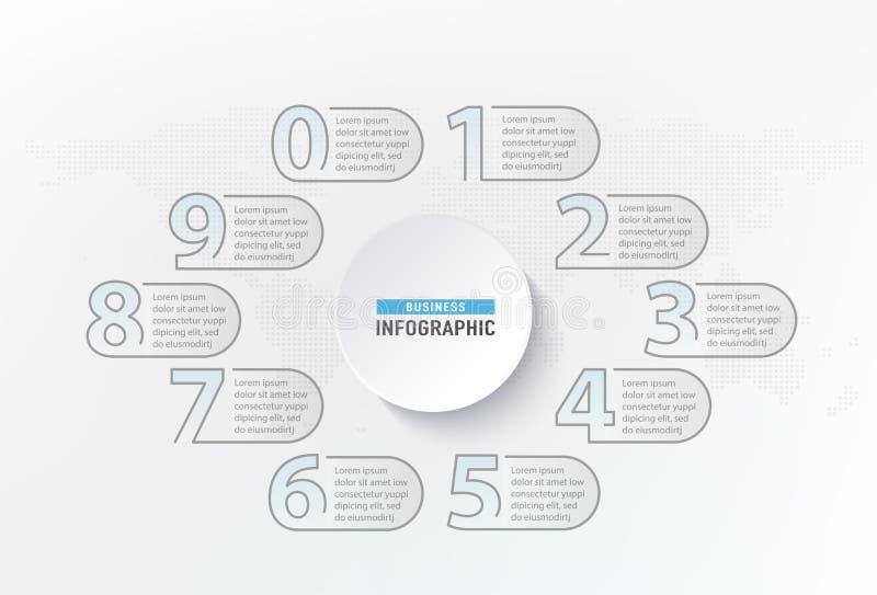 De stappenelement van Infographicaantallen Diagram van de cirkel het grafische grafiek, bedrijfs grafisch ontwerp Vector illustra vector illustratie