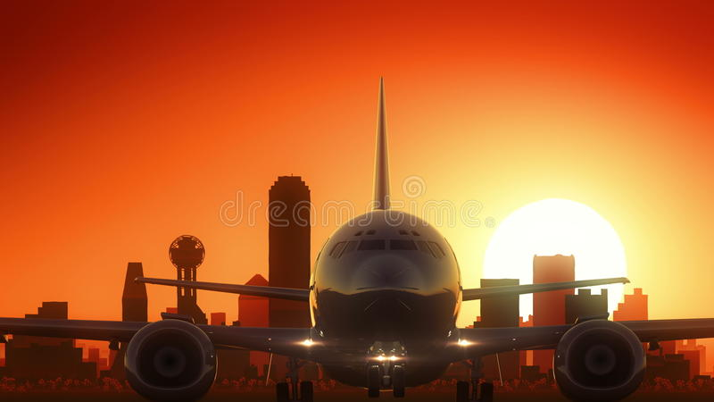 De Start van de de Horizonzonsopgang van Dallas Texas de V.S. Amerika royalty-vrije illustratie