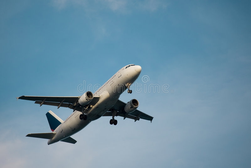De start van het vliegtuig stock foto's