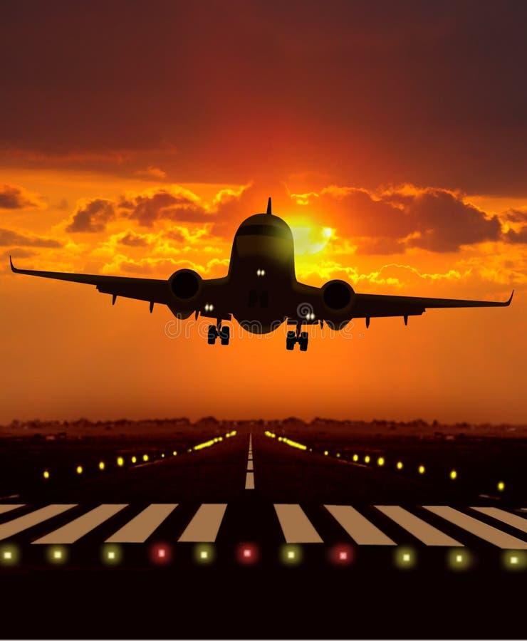 De start van het vliegtuig tijdens zonsondergang royalty-vrije stock fotografie