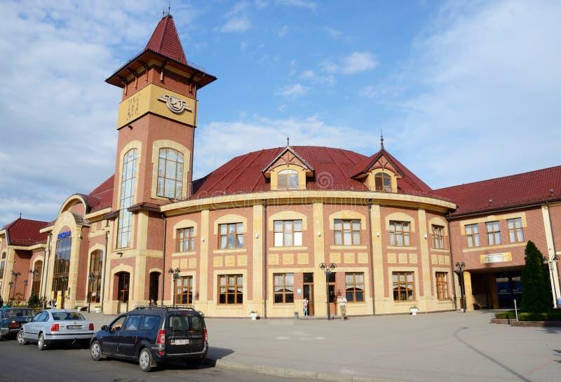 De stationbouw in Uzhhorod, de Westelijke Oekraïne stock afbeelding