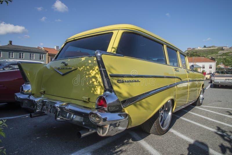 1957 de stationcar van Chevrolet Bel Air Townsman stock foto's
