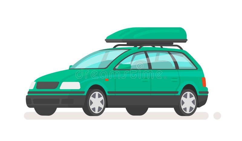 De stationcar van de familieauto met een dakrek Vector illustratie vector illustratie