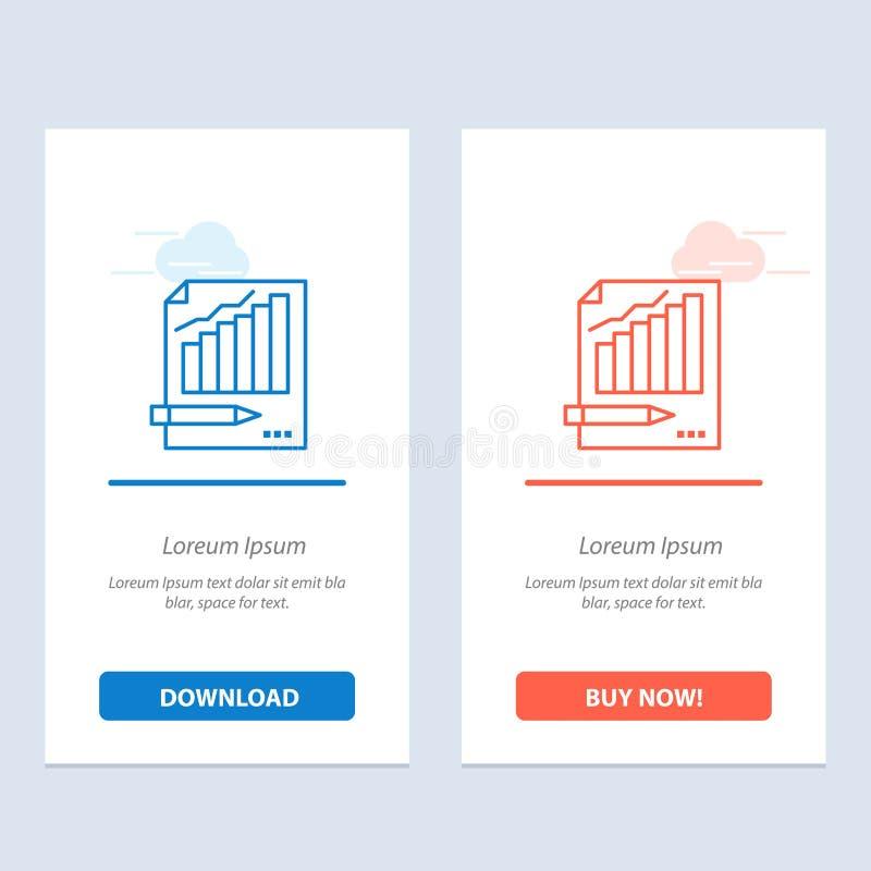 De statistieken, de Analyse, Analytics, de Zaken, de Grafiek, de Grafiek, de Markt Blauwe en Rode Download en kopen nu de Kaartma stock illustratie