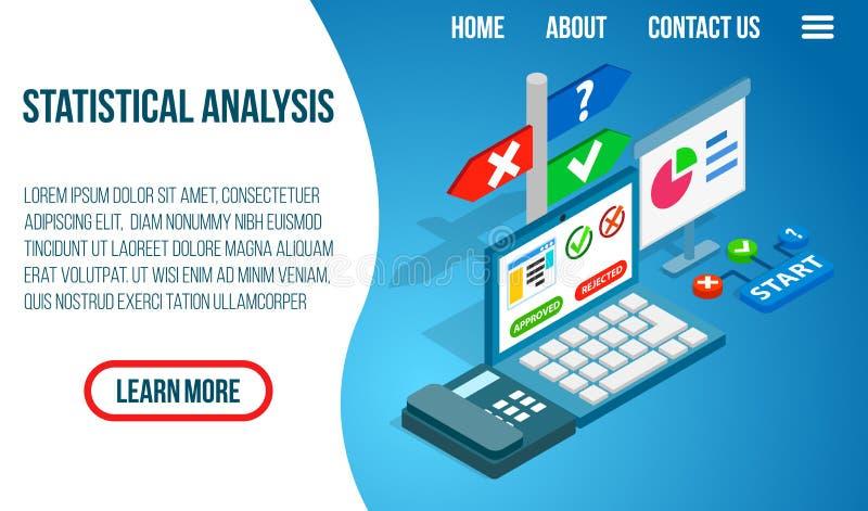 De statistische banner van het analyseconcept, isometrische stijl vector illustratie