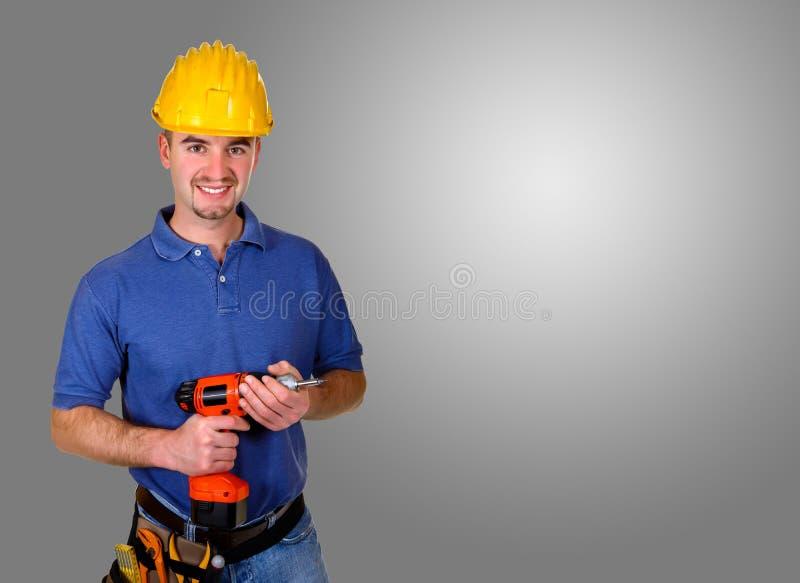 De status isoleerde jonge handarbeidersachtergrond stock foto's