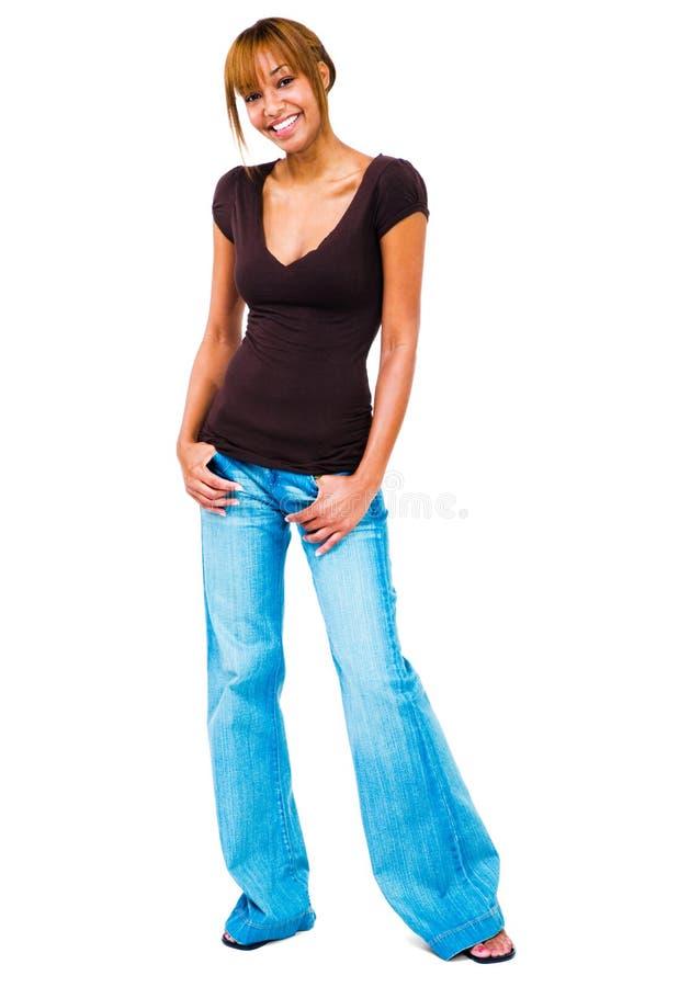 De status van de vrouw met dient zakken in royalty-vrije stock afbeeldingen