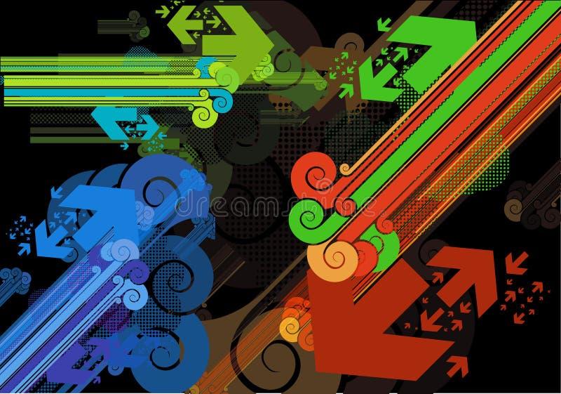 De staven en de pijlen retro stijl van diagonalen vector illustratie