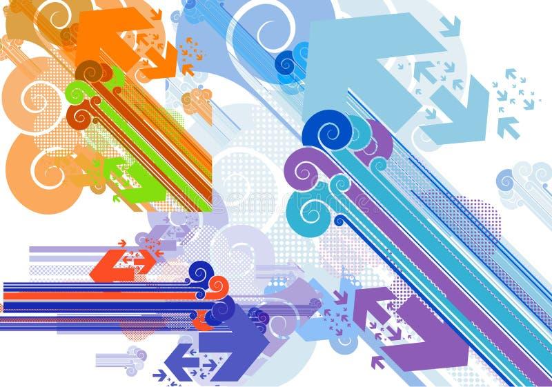 De staven en de pijlen van diagonalen in witte retro stijl royalty-vrije illustratie