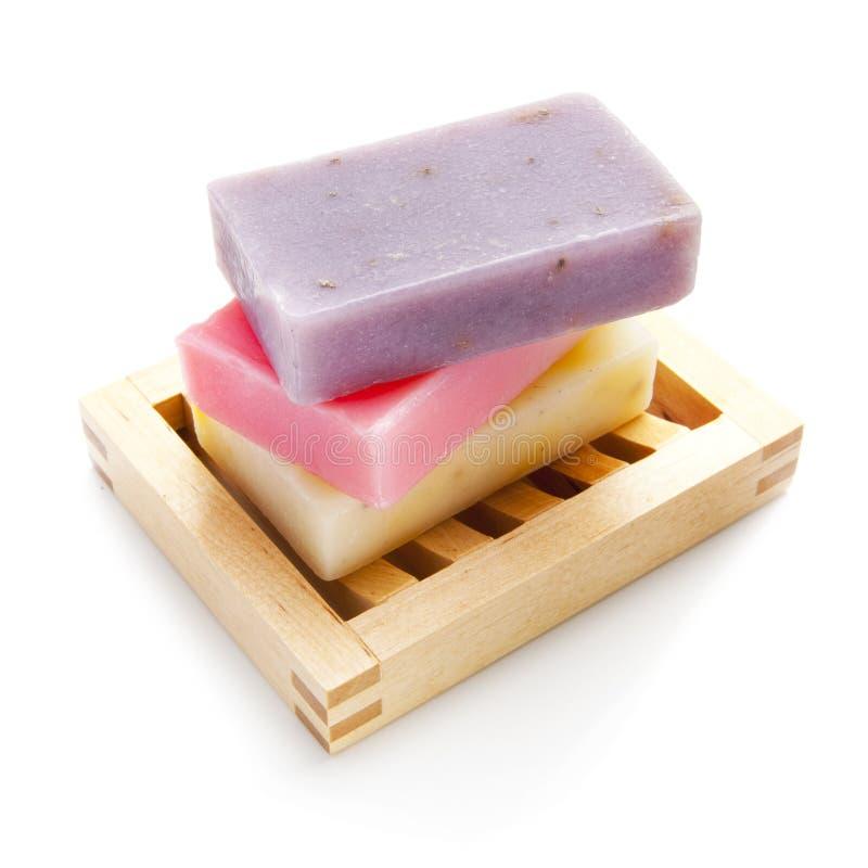 De staven van de zeep met natuurlijke ingrediënten royalty-vrije stock fotografie