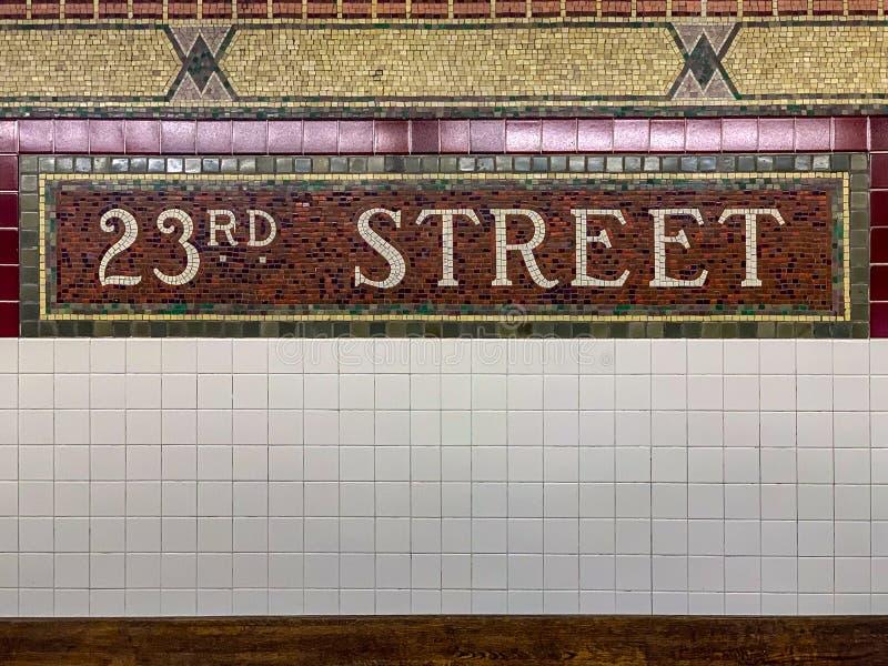 de 23ste Post van de Straatmetro - de Stad van New York royalty-vrije stock foto's