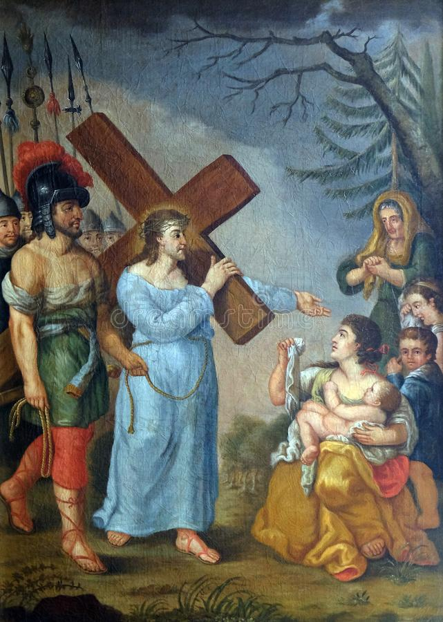 de 8ste Posten van het Kruis, Jesus ontmoet de dochters van Jeruzalem royalty-vrije stock foto's