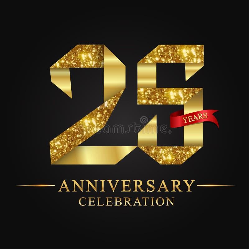 de 25ste viering van verjaardagsjaren logotype Het gouden aantal van het embleemlint en rood lint op zwarte achtergrond royalty-vrije illustratie