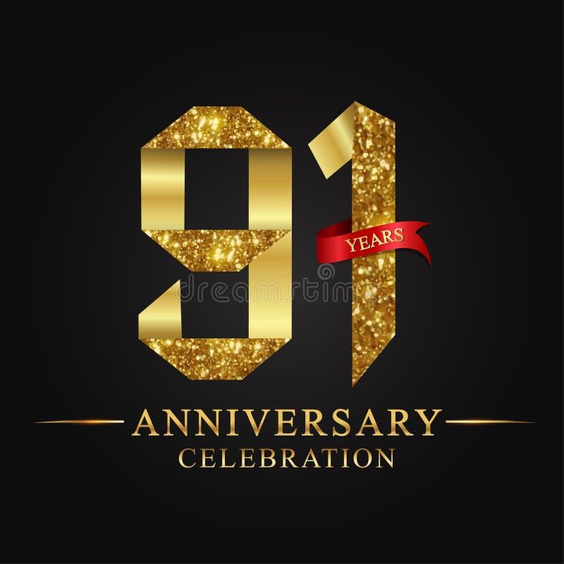 de 91ste viering van verjaardagsjaren logotype Het gouden aantal van het embleemlint en rood lint op zwarte achtergrond stock illustratie