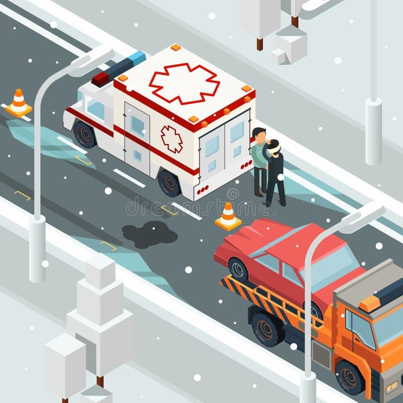 De stedelijke auto's van de ongevallenneerstorting De winterwaarschuwing op isometrisch het wrak automobiel vectorlandschap van d royalty-vrije illustratie