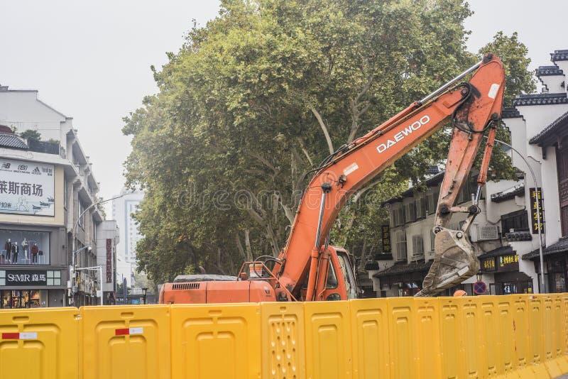 De stedelijke bouw, regenwater en rioleringsbouwwerf van het afleidingsactieproject royalty-vrije stock foto's