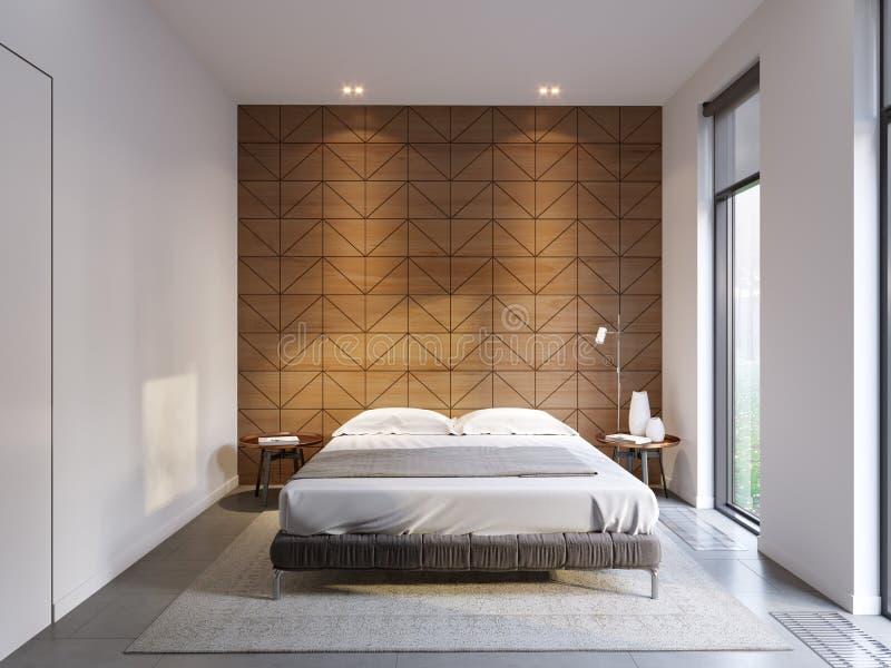 De stedelijke eigentijdse moderne high tech slaapkamer van