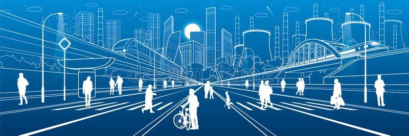 De stedelijke Illustratie van de Stadsinfrastructuur Mensen die bij straat lopen Moderne stad Treinbeweging op brug Verlichte weg stock illustratie