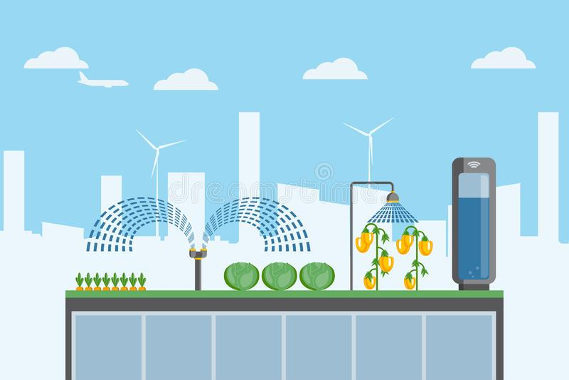 De stedelijke landbouw op het dak stock illustratie
