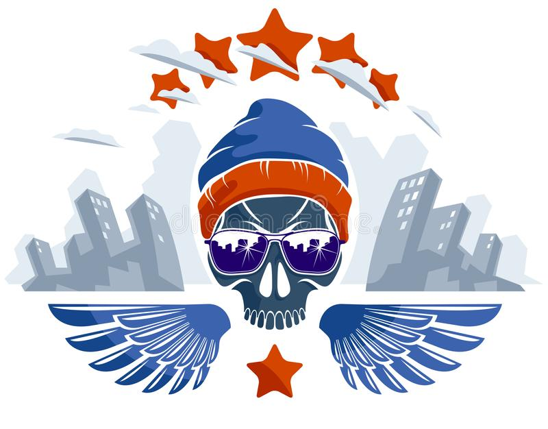 De stedelijke schedel van de cultuurstijl in zonnebril vectorembleem of embleem, gangster of misdadigersillustratie, de hooligan  stock illustratie