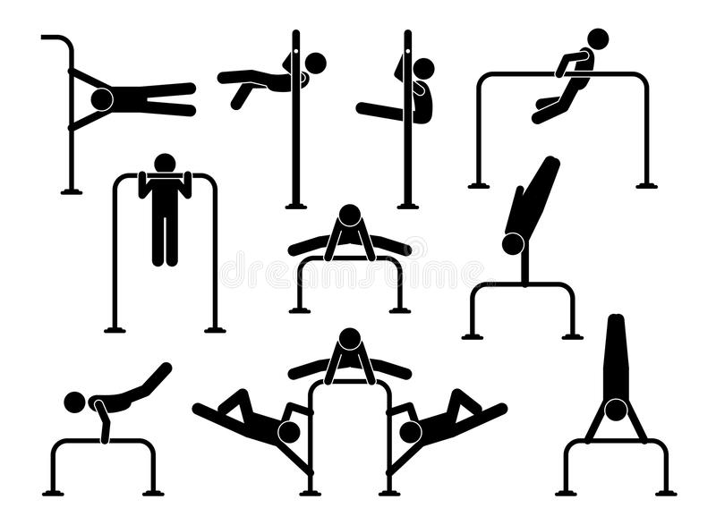De stedelijke training van de straatgymnastiek royalty-vrije illustratie