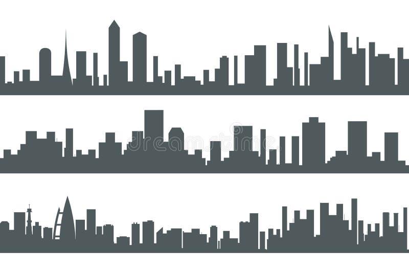 De stedelijke van het het Silhouet Vastgestelde Concept van Real Estate van de Landschapsstad Naadloze van het het Pictogrammalpl royalty-vrije illustratie