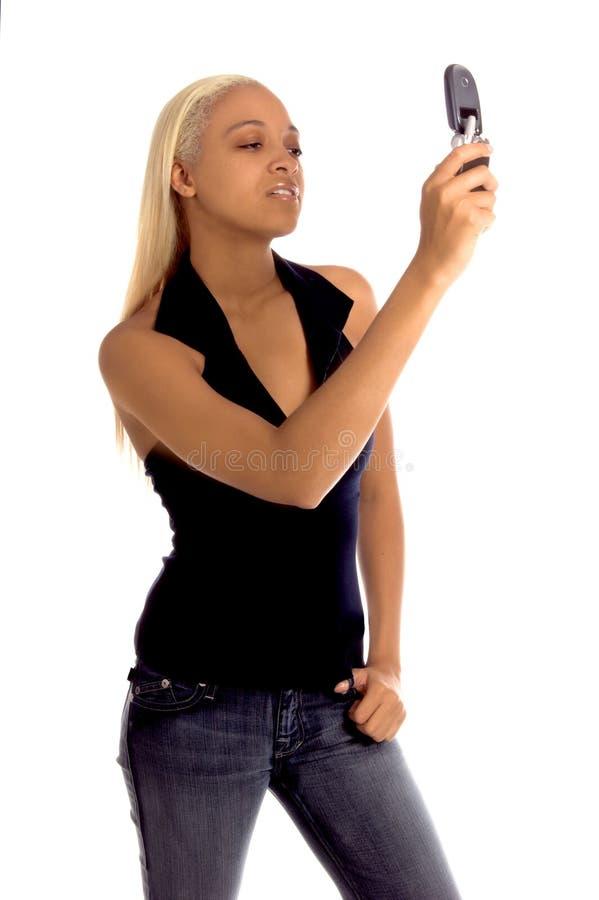 De stedelijke Vrouw van de Telefoon van de Cel royalty-vrije stock afbeelding