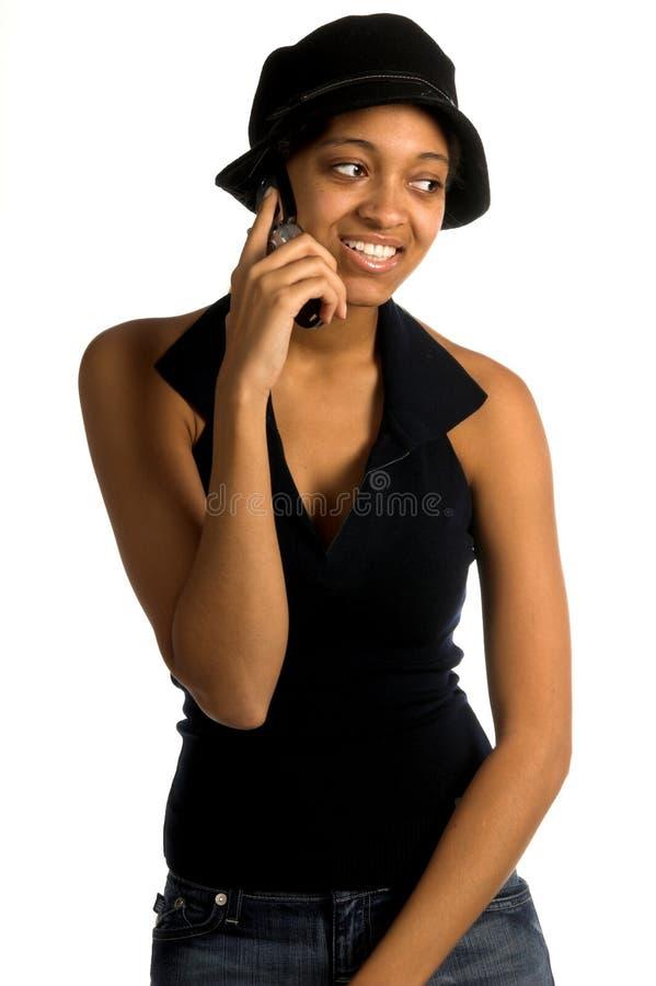 De stedelijke Vrouw van de Telefoon van de Cel stock fotografie