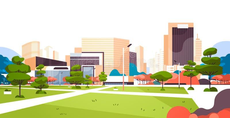 De stedelijke de wolkenkrabbergebouwen van het stadspark bekijken moderne de stad in vlak horizontaal cityscape vector illustratie